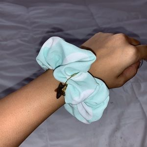 Mint polka dot scrunchie with gold star chain
